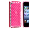 Insten APP iPod Gen4 Touch TPU Case , Clear Hot Pink Diamond
