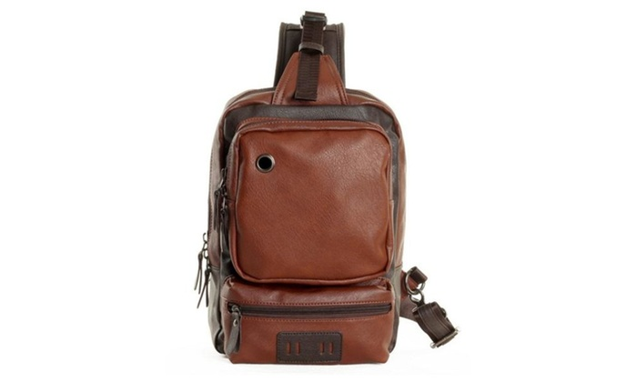 Men's Fashion Pu Leather Crossbody Chest Pack Bag For Men