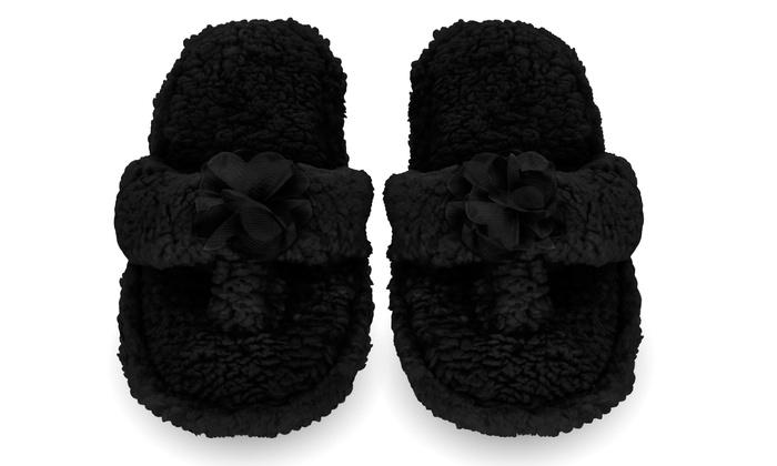 11 Ellen Tracy Women/'s Metallic Gold Faux Fur Memory Foam Slip-On Slippers XL