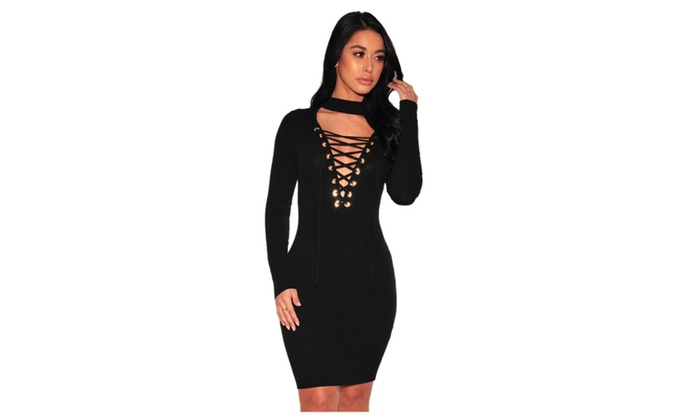 Women's Black Lace-up Bust Ribbed Dress
