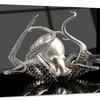 Silver Octopus Abstract Digital Art Metal Wall Art 28x12