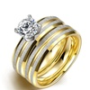 Stainless Steel Duo-Band Crystal Ring