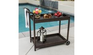 Denise Austin Home Baja Outdoor Wicker Bar Cart