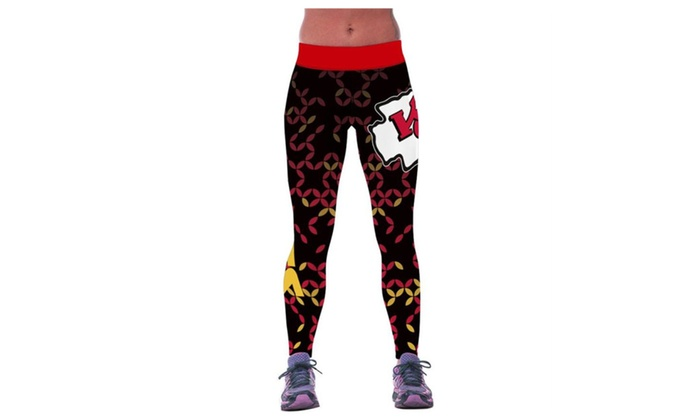 4PING Women's Football Chiefs Printing Sports Fitness Pants Leggings
