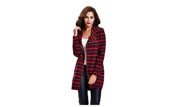 Dressray Women's Open Front Sweater Long Sleeve Stripe Knit Cardigan