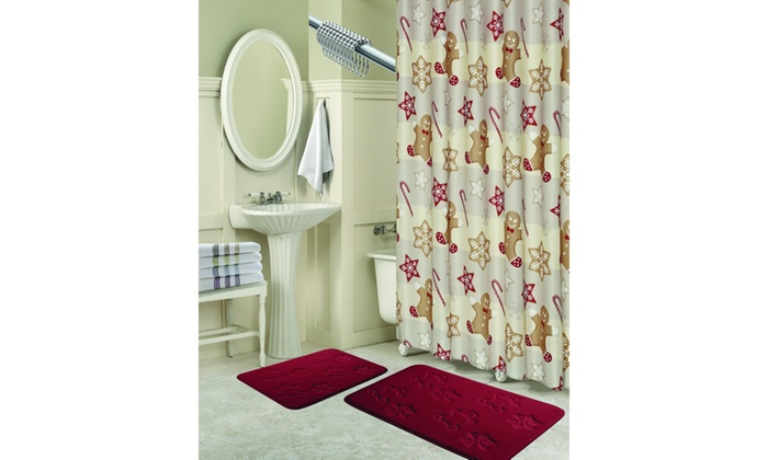 Gingerbread Shower Curtain Bath Set 15 Piece