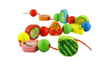 Wooden Fruit Block Stringing Beaded Toy Kids Baby Learn Education Toy f71048b1-611e-4716-9e24-3797dcbac829
