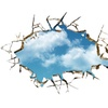 Blue Sky Cloud 3d Broken Hole Wall Mural Art Sticker