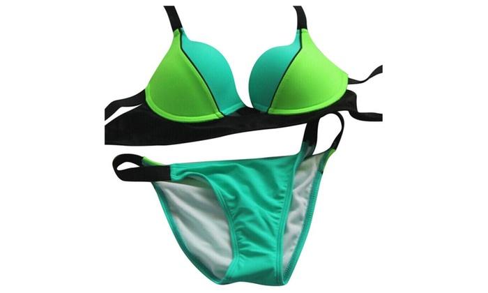 Women's Swimwear Color Split Joint Sexy Bikinis