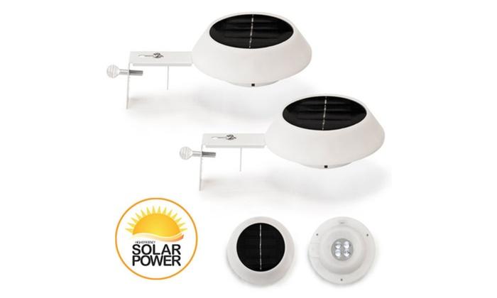 Premium Solar Gutter/Fence Accent Lights: Set of 2 Round
