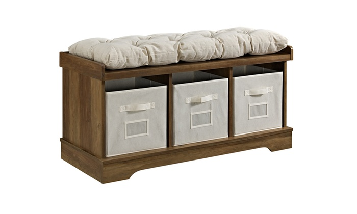 We Furniture B42stc 42 Wood Storage Bench With Totes And Cushion