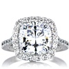 Sterling Silver AAAA Cubic Zirconia Cushion Shape Halo Ring