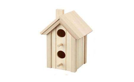Wood Bird House with Two Entry Holes and a Chimney (Goods Outdoor Décor Bird Feeders & Baths) photo