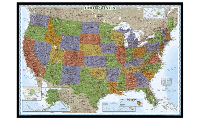 National Geographic RE00622084 United States Decorator Map | Groupon