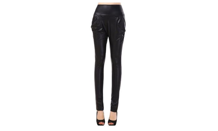 Women's Long Slim Fit High Rise Simple Casual Leggings – Black / One Size