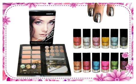 Concealer & Eyebrow Duo Makeup Kit & 12 Metallic Color Nail Lacquers 9b265464-7114-43f6-b379-17696e7d8992