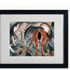 Franz Marc 'Horse With Two Foals 1912' Matted Black Framed Art