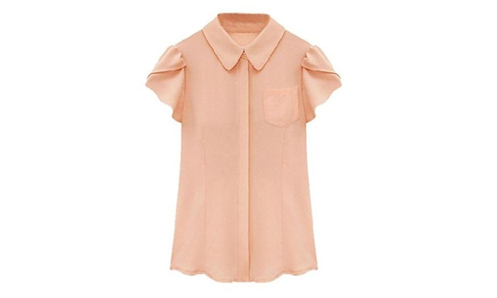 Persun White/Pink Short Ruffle Sleeves Chiffon Shirt Soft Blouse