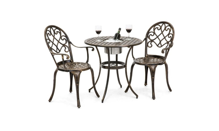 Cast Aluminum Patio Table Set w/ Attached Ice Bucket, Chairs (Copper) ... - Up To 53% Off On Cast Aluminum Patio Table Set... Groupon Goods