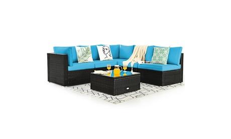 Costway 6PCS Patio Rattan Furniture Set Cushioned Sofa Coffee Table
