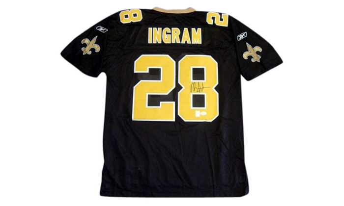 new products 7b6b2 06eac Autographed Mark Ingram New Orleans Saints Black Reebok Twill Jersey