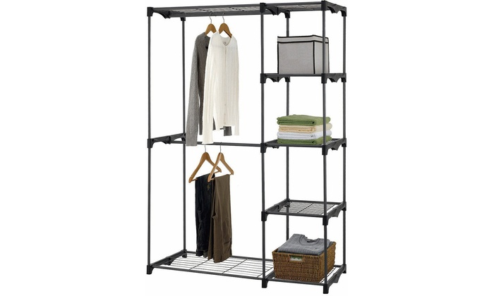 5 Tier Portable Closet Storage Wardrobe Clothes Rack With Shelves