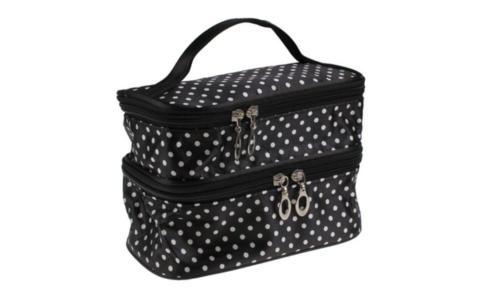 ee9e1f109466 Polka Dots Double Layer Travel Toiletry Cosmetic Bag With Mirror ...