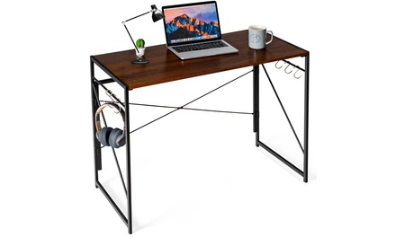Costway Folding Computer Desk Writing Study Table w/6 Hooks Home Office