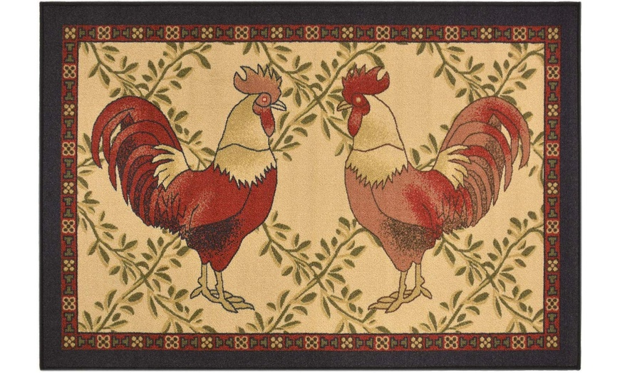 Kitchen Collection Rooster Slip Resistant Latex French Country Area Rug Groupon