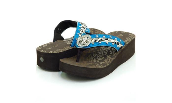 07364e141d2c8 Blazin Roxx 4119602-05 Ladies Montana Flip Flops