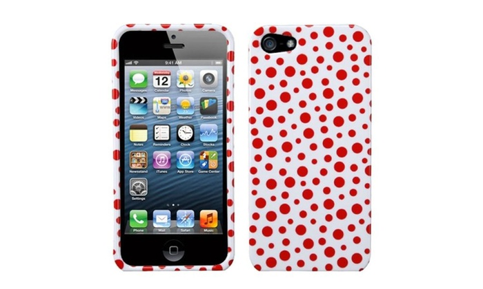 Case Design office depot phone cases : insten red mixed polka dots phone case for apple iphone 5 5s phone ...