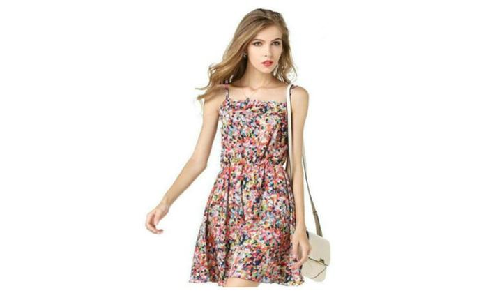 Gather Waist Summer Printed Chiffon Pleated Dress