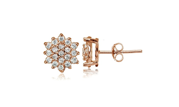 ed6610be3 Rose Gold Flashed Sterling Silver Cubic Zirconia Floral Stud Earrings Clear  Cubic Zirconia Sterling Silver Stud