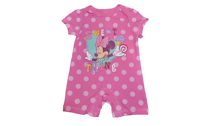 eea701e5521b Licensed Disney Infant Minnie Mouse Romper Onesie Pink Polka Dot ...