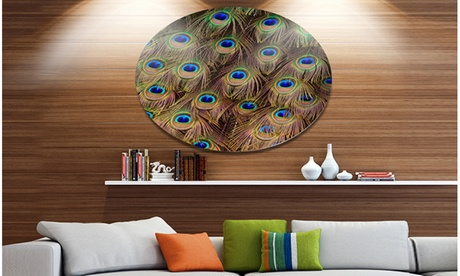 Peacock Bird Tail Feathers in Close Up' Animal Metal Circle Wall Art aff02f26-c9b3-4ad1-a62a-c355ea492c8b