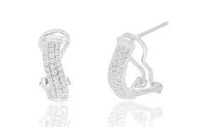 Diamante Diamond Accent Huggie Hoop Earrings
