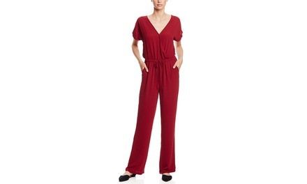 MISS LOVE Short Sleeve Jumpsuit with Low Back