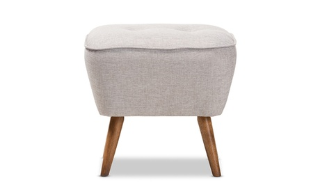 Petronelle Fabric Upholstered Walnut Brown Wood Ottoman