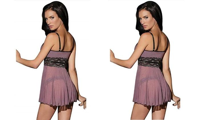Sexy Dress Lace Women Nightwear Lengerie With Babydoll G Lingerie String Sheer 80wvnONm