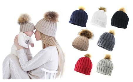 Women Adult Child Winter Knit Beanie Hat Fur Ski Pom Pom Cap 8f5a55cf-c830-461d-b8c0-adf91f08f86f