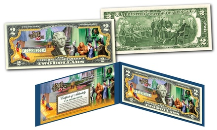 Wizard of Oz Yellow Brick Road Colorized U.S. $2 Bill