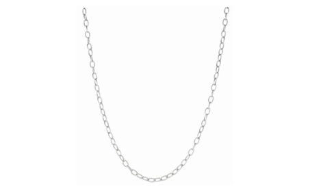 "Silver 16"" with Rhodium Finish Textured Diamond Cut Oval Rolo Chain 666e8dcc-1bf4-45c2-aa78-d38b76b62fa0"
