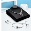 Luxury Silver Plated Marquise Cut Rhinestone Flower Opening Ring Jewelry Set