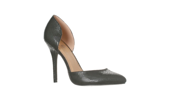 Riverberry 'Nora' Pointed Toe D'Orsay Pump Heels, Black Snake