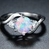 White Rhodium & Fire Opal Bypass Ring