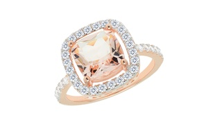6.50 CTTW Morganite Halo Cushion Cut Ring in 14K Rose Gold Plated