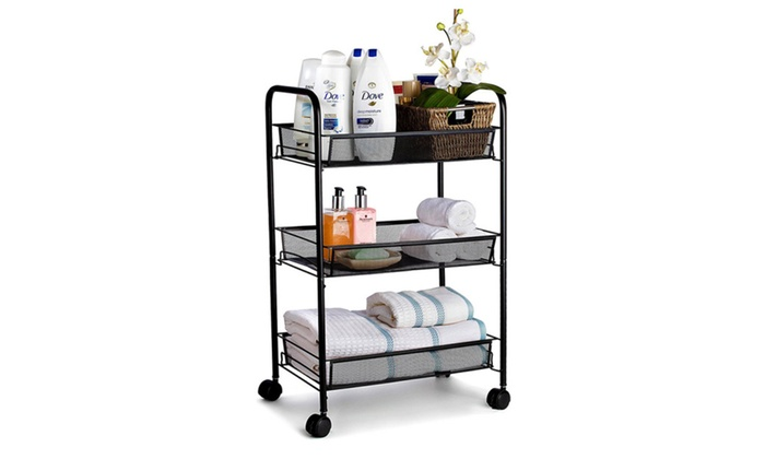 3 Tier Mesh Rolling Storage Cart With Baskets Groupon
