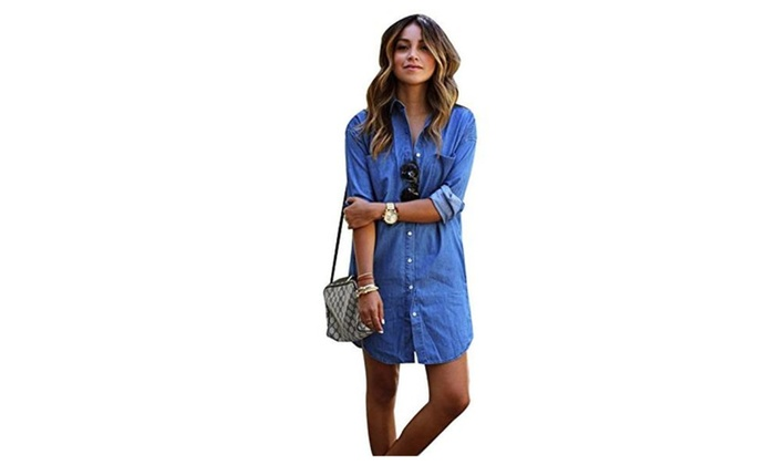 Womens Sexy  Half Sleeve Loose Plus Size Button Down Shirt Denim Dress