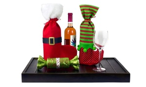 Pack of 4 Christmas Wine Gift Bags Set - 4 Drawstring Christmas Bags