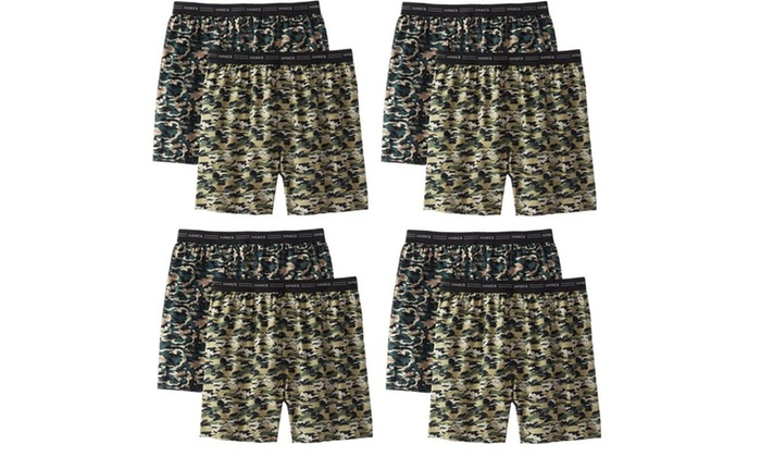 a6b279bebc6d Hanes Men's Woven Camo Boxers with Exposed Waistband (8-Pack) | Groupon